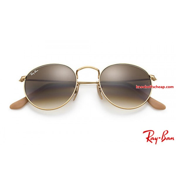 5270eda3215 Discount Ray Bans RB3447 Round Metal with Gold frame and Light Brown ...
