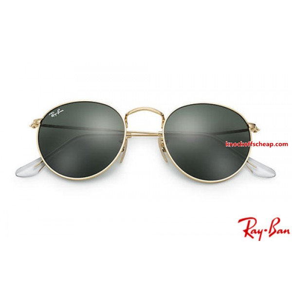 051b80d8286 Fake Ray Bans RB3447 Round Metal with Gold frame and Green Classic G ...